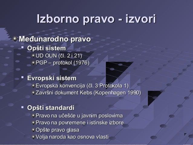 Izborno pravo - izvori Međunarodno pravo   Opšti sistem UD OUN (čl. 2 i 21) PGP – protokol (1976)    Evropski sistem Evr...