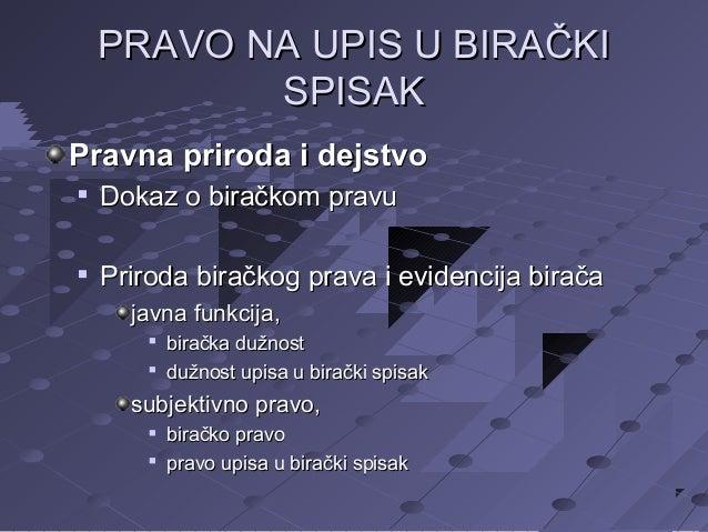 PRAVO NA UPIS U BIRAČKI SPISAK Pravna priroda i dejstvo   Dokaz o biračkom pravu    Priroda biračkog prava i evidencija ...