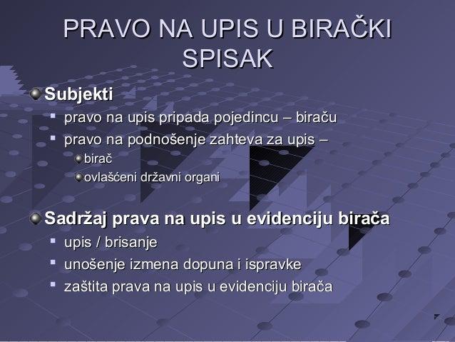 PRAVO NA UPIS U BIRAČKI SPISAK Subjekti    pravo na upis pripada pojedincu – biraču pravo na podnošenje zahteva za upis ...