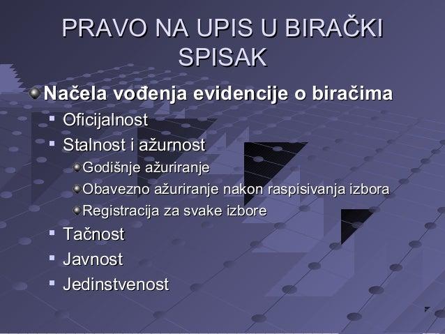 PRAVO NA UPIS U BIRAČKI SPISAK Načela vođenja evidencije o biračima    Oficijalnost Stalnost i ažurnost Godišnje ažurira...