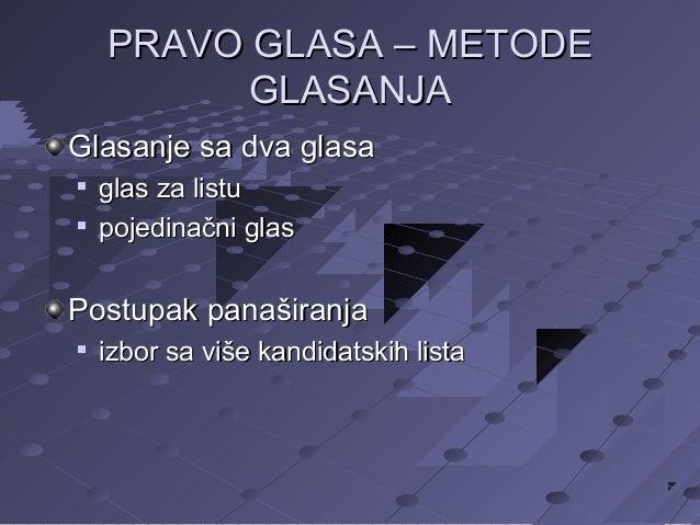 PRAVO GLASA – METODE GLASANJA Glasanje sa dva glasa    glas za listu pojedinačni glas  Postupak panaširanja   izbor sa ...