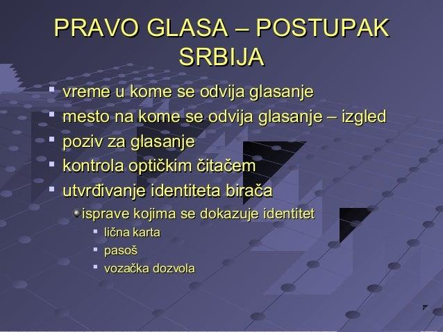 PRAVO GLASA – POSTUPAK SRBIJA       vreme u kome se odvija glasanje mesto na kome se odvija glasanje – izgled poziv z...