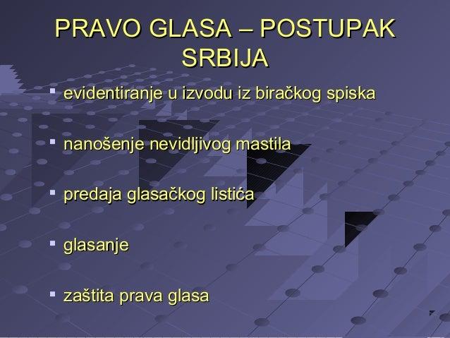 PRAVO GLASA – POSTUPAK SRBIJA   evidentiranje u izvodu iz biračkog spiska    nanošenje nevidljivog mastila    predaja g...