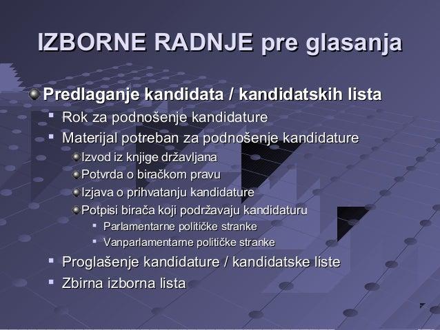 IZBORNE RADNJE pre glasanja Predlaganje kandidata / kandidatskih lista    Rok za podnošenje kandidature Materijal potreb...