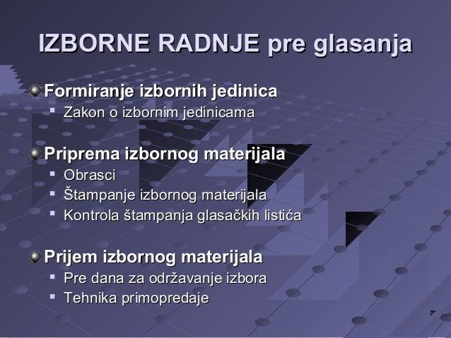 IZBORNE RADNJE pre glasanja Formiranje izbornih jedinica   Zakon o izbornim jedinicama  Priprema izbornog materijala   ...