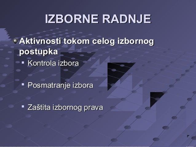 IZBORNE RADNJE Aktivnosti tokom celog izbornog postupka   Kontrola izbora    Posmatranje izbora    Zaštita izbornog pra...