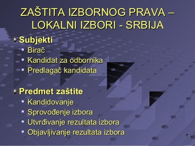 ZAŠTITA IZBORNOG PRAVA – LOKALNI IZBORI - SRBIJA Subjekti     Birač Kandidat za odbornika Predlagač kandidata  Predmet ...