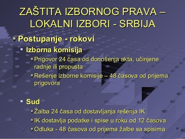ZAŠTITA IZBORNOG PRAVA – LOKALNI IZBORI - SRBIJA Postupanje - rokovi   Izborna komisija Prigovor 24 časa od donošenja akt...