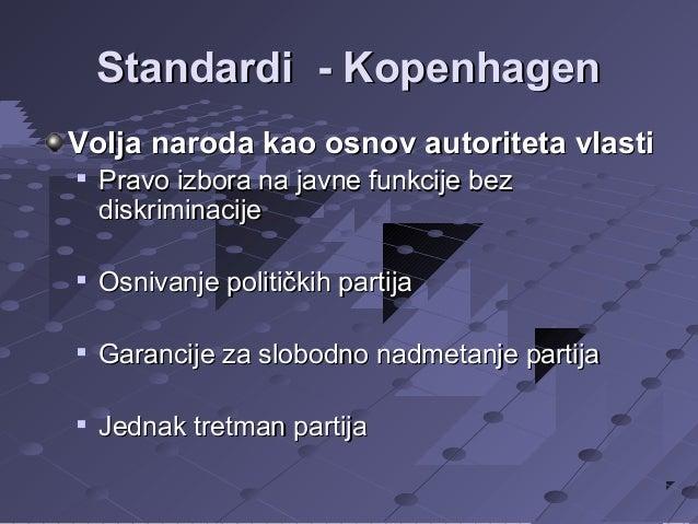 Standardi - Kopenhagen Volja naroda kao osnov autoriteta vlasti   Pravo izbora na javne funkcije bez diskriminacije    O...
