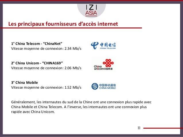 """Les principaux fournisseurs d'accès internet 1° China Telecom - """"ChinaNet"""" Vitesse moyenne de connexion: 2.34 Mb/s 2° Chin..."""