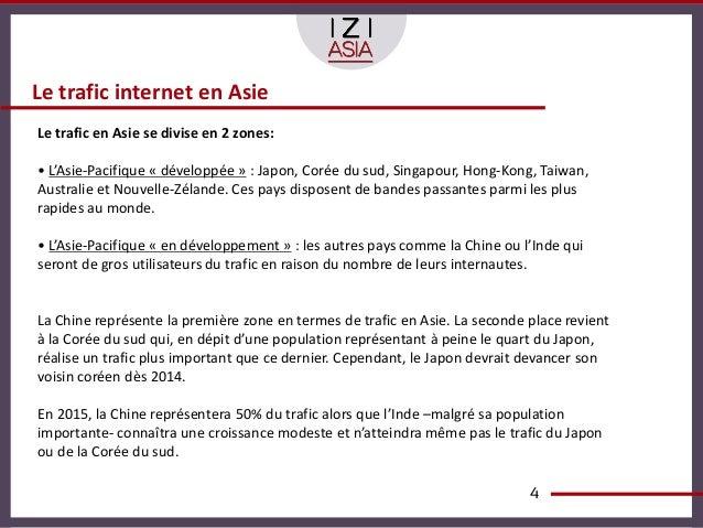 Le trafic internet en AsieLe trafic en Asie se divise en 2 zones:• L'Asie-Pacifique « développée » : Japon, Corée du sud, ...