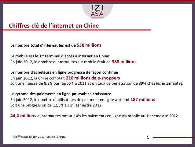 Chiffres-clé de l'internet en ChineLe nombre total d'internautes est de 538 millionsLe mobile est le 1er terminal d'accès ...