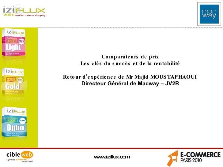 www.iziflux.com Comparateurs de prix Les clés du succès et de la rentabilité Retour d'expérience de Mr Majid MOUSTAPHAOUI ...