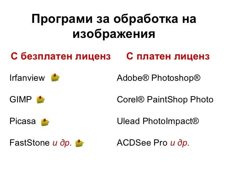 Програми за обработка на           изображенияС безплатен лиценз     С платен лицензIrfanview            Adobe® Photoshop®...