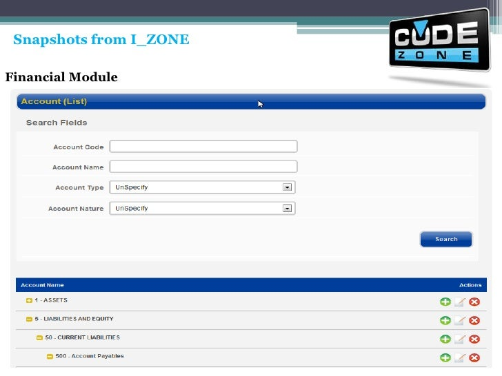 Snapshots from I_ZONE<br />Financial Module<br />
