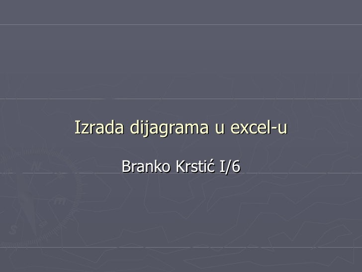 Izrada dijagrama u excel-u Branko  Krstić I/6
