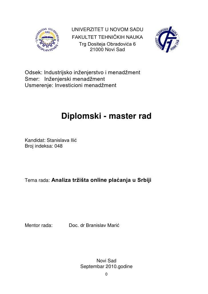 UNIVERZITET U NOVOM SADU                       FAKULTET TEHNIĈKIH NAUKA                         Trg Dositeja Obradovića 6 ...