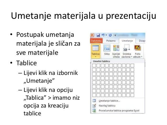 Umetanje materijala u prezentaciju • Postupak umetanja materijala je sličan za sve materijale • Tablice – Lijevi klik na i...