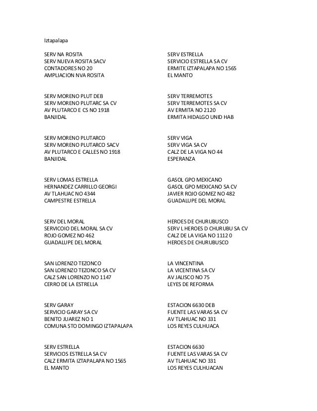 Iztapalapa SERV NA ROSITA SERV NUEVA ROSITA SACV CONTADORES NO 20 AMPLIACION NVA ROSITA  SERV ESTRELLA SERVICIO ESTRELLA S...