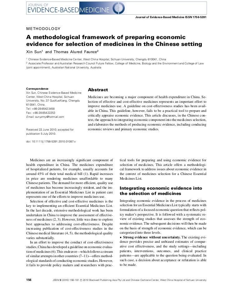Journal of Evidence-Based Medicine ISSN 1756-5391METHODOLOGYA methodological framework of preparing economicevidence for s...