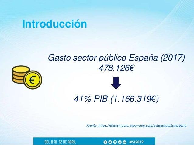Introducción Gasto sector público España (2017) 478.126€ 41% PIB (1.166.319€) Fuente: https://datosmacro.expansion.com/est...