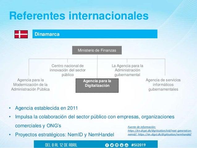 Dinamarca Referentes internacionales • Agencia establecida en 2011 • Impulsa la colaboración del sector público con empres...