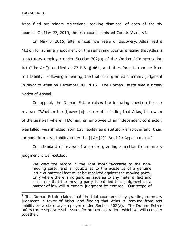 Pennsylvania Superior Court Decision: Doman v Atlas Energy