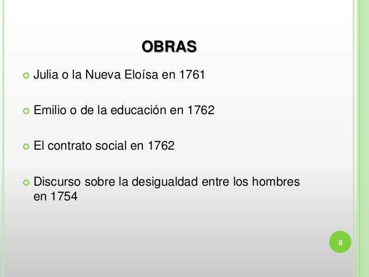 OBRAS   Julia o la Nueva Eloísa en 1761   Emilio o de la educación en 1762   El contrato social en 1762   Discurso sob...
