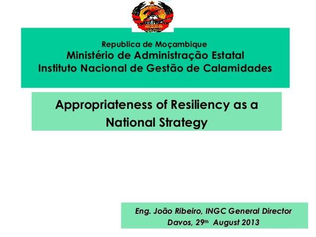 Republica de Moçambique Ministério de Administração Estatal Instituto Nacional de Gestão de Calamidades Appropriateness of...