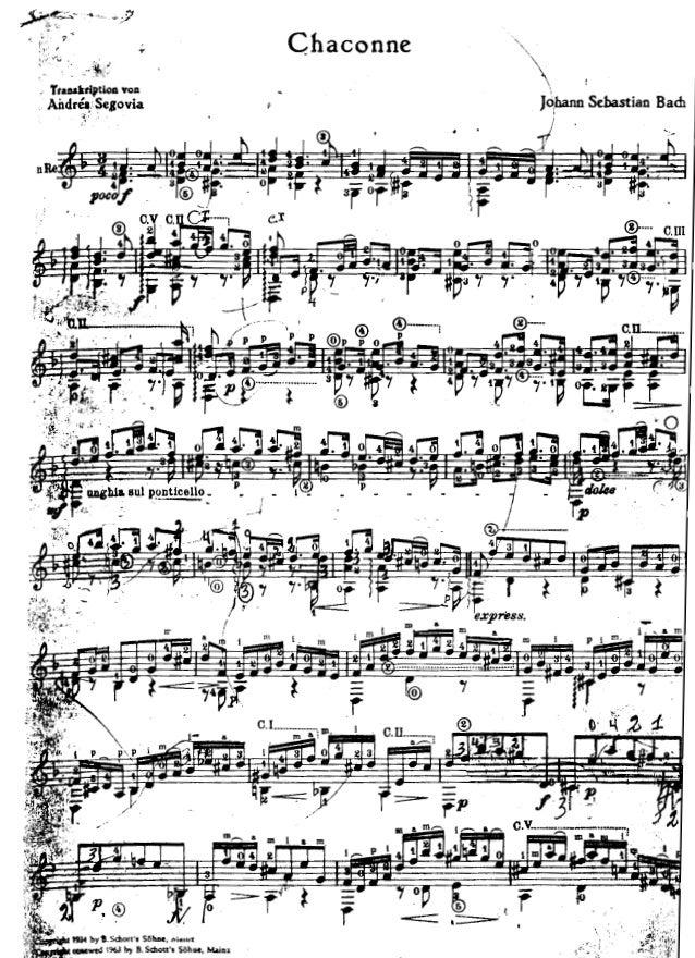 Guitar bach cello suite 1 guitar sheet music : bach chaconne ( arr. segovia)