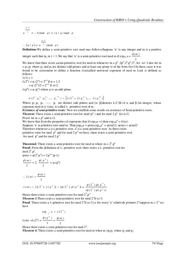 Construction of BIBD's Using Quadratic Residues  Construction of...