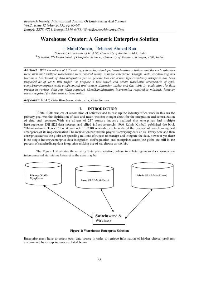 Research Inventy: International Journal Of Engineering And ScienceVol.2, Issue 12 (May 2013), Pp 65-68Issn(e): 2278-4721, ...