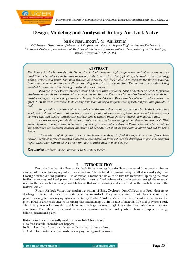 International Journal Of Computational Engineering Research (ijceronline.com) Vol. 03 Issue. 12  Design, Modeling and Anal...