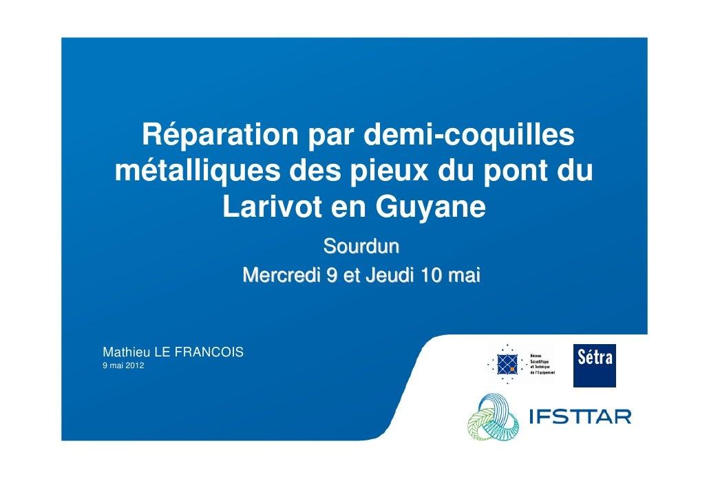 Les Plénières Journées Techniques Ouvrages d'Art 2012            Réparation par demi-coquilles           métalliques des p...