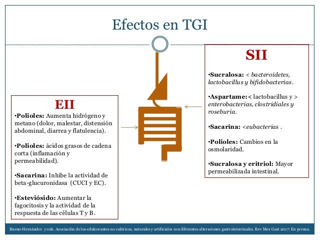 Efectos en TGI EII •Polioles: Aumenta hidrógeno y metano (dolor, malestar, distensión abdominal, diarrea y flatulencia). •...