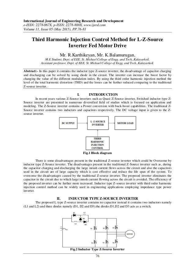 Third Harmonic Injection Control Method for L-Z-Source Inverter Fed M…