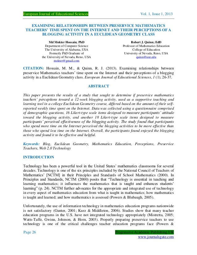 European Journal of Educational Sciences Vol. 1, Issue 1, 2013 Page 26 Progressive Academic Publishing,UK www.journalsgate...
