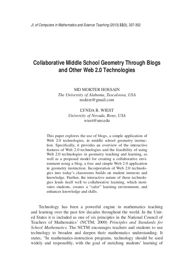 Collaborative Middle School Geometry Through Blogs and Other Web 2 0 …