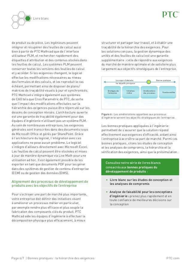 Page 6/7 | Bonnes pratiques: la hiérarchie des exigences Livre blanc PTC.com de produit ou de pièce. Les ingénieurs peuve...