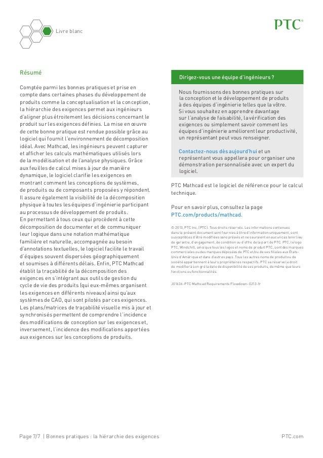 Page 7/7 | Bonnes pratiques: la hiérarchie des exigences Livre blanc PTC.com PTCMathcad est le logiciel de référence pou...