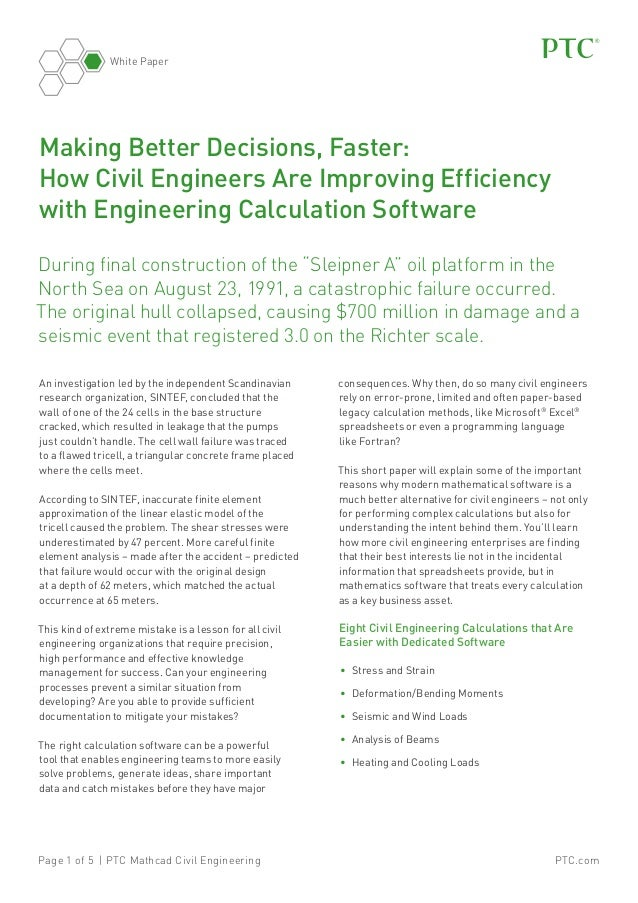 White Paper  Making Better Decisions, Faster: How Civil Engineers Are Improving Efficiency with Engineering Calculation So...