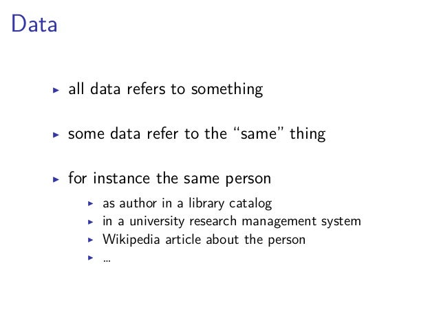 """""""Old School"""" Library Linked Data  authority files registry, classification, thesaurus…  controlled vocabularies no homonym..."""