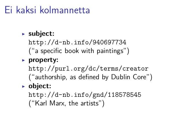 An RDF triple (N-Triples syntax)  <http://d-nb.info/940697734>  <http://purl.org/dc/terms/creator>  <http://d-nb.info/gnd/...
