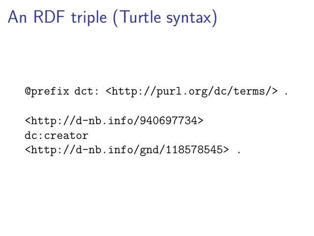 An RDF triple (aREF syntax)  http://d-nb.info/940697734:  dc_creator:  http://d-nb.info/gnd/118578545  RDF syntax converte...