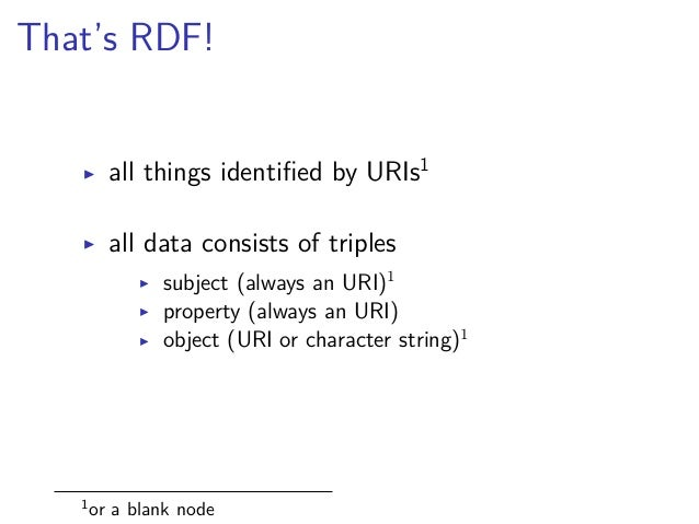 Ontologies  set of common properties and rules  ▶ foaf:name  (http://xmlns.com/foaf/0.1/name)  ▶ dct:title  (http://purl.o...