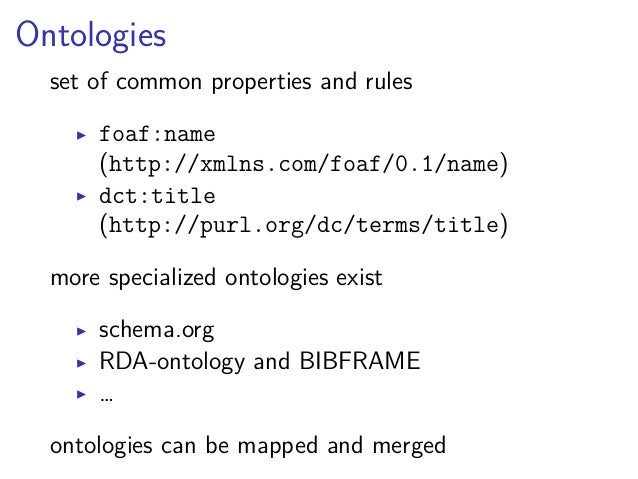 Lesson learned  ▶ RDF data consists of triples  ▶ subjects, properties, and most objects  identified by URIs