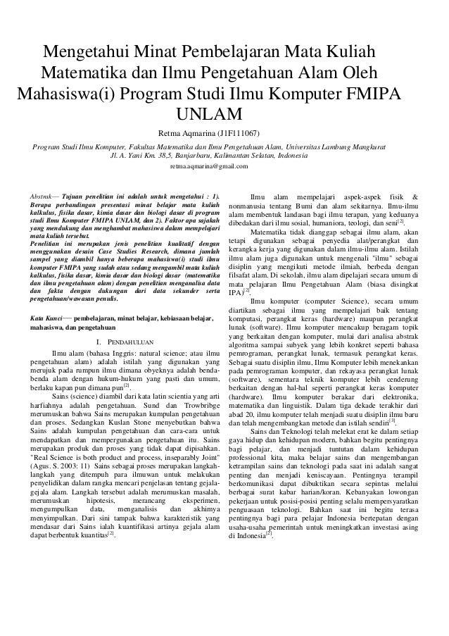 Mengetahui Minat Pembelajaran Mata Kuliah Matematika dan Ilmu Pengetahuan Alam Oleh Mahasiswa(i) Program Studi Ilmu Komput...