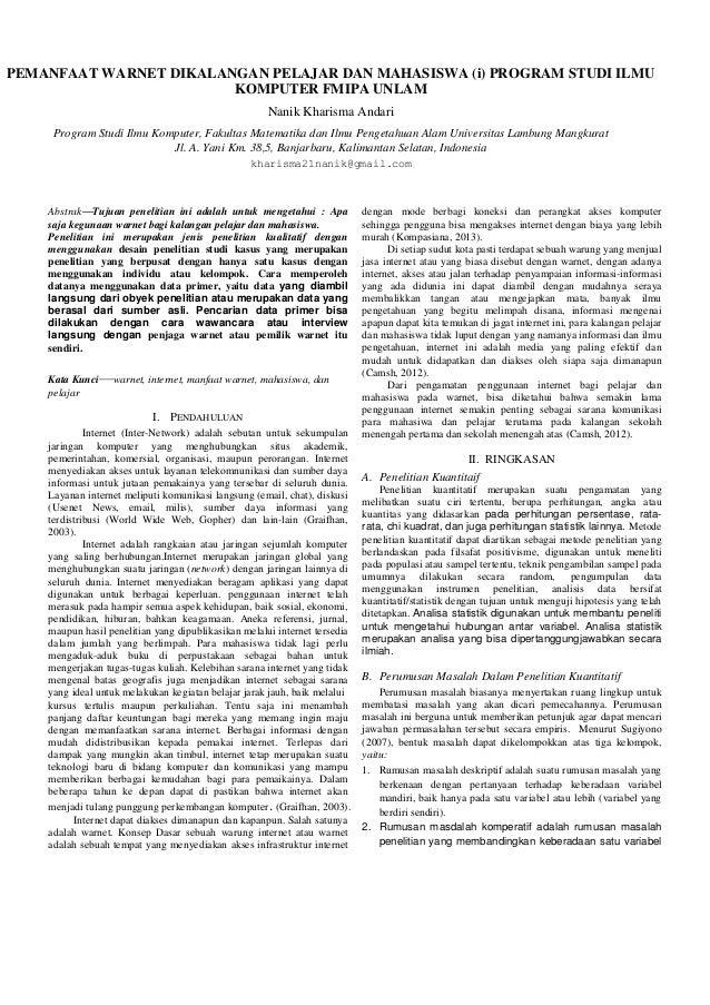 PEMANFAAT WARNET DIKALANGAN PELAJAR DAN MAHASISWA (i) PROGRAM STUDI ILMU KOMPUTER FMIPA UNLAM Nanik Kharisma Andari Progra...