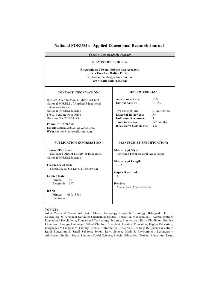 National FORUM of Applied Educational Research Journal                                   Cabell's Commendable Journal     ...