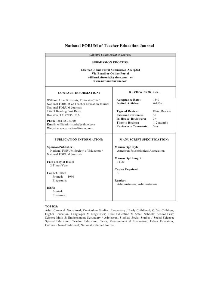 National FORUM of Teacher Education Journal                                 Cabell's Commendable Journal                  ...